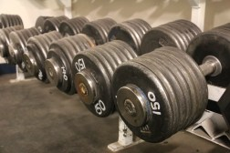Heavyset dumbbells at the McMurdo Weight Room.