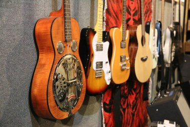 A variety of guitars available for community use at McMurdo Station's Band Room.