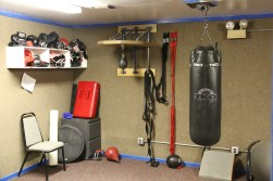 Boxing equipment available for use at the Gerbil Gym's exercise and boxing room.