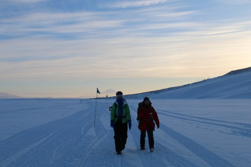 Beverly (R) and Carolyn (L) enjoying the evening hike on the Ross Ice Shelf. © A. Padilla