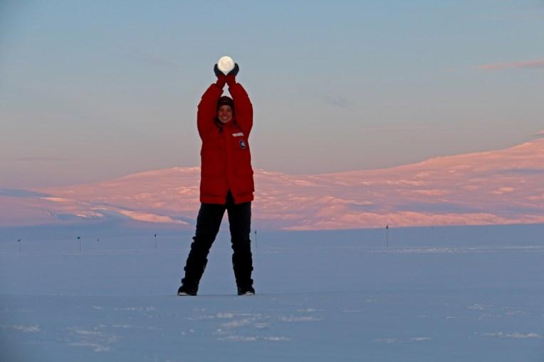 Beverly enjoys the full moon over the Ross Ice Shelf. © A. Padilla