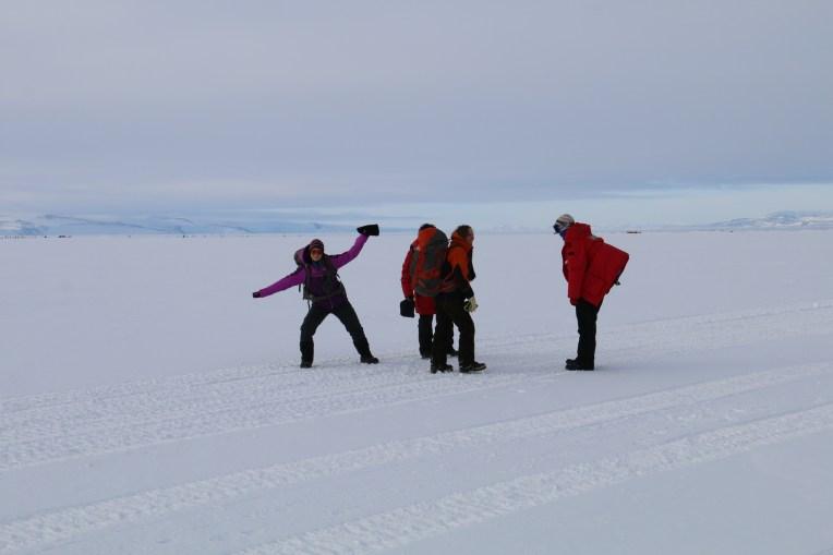 Taking a mid-hike break to enjoy the Antarctic scenery. © A. Padilla