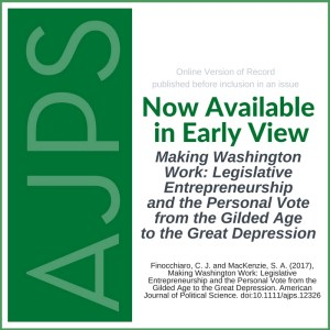Making Washington Work: Legislative Entrepreneurship and the Personal Vote from the Gilded Age to the Great Depression