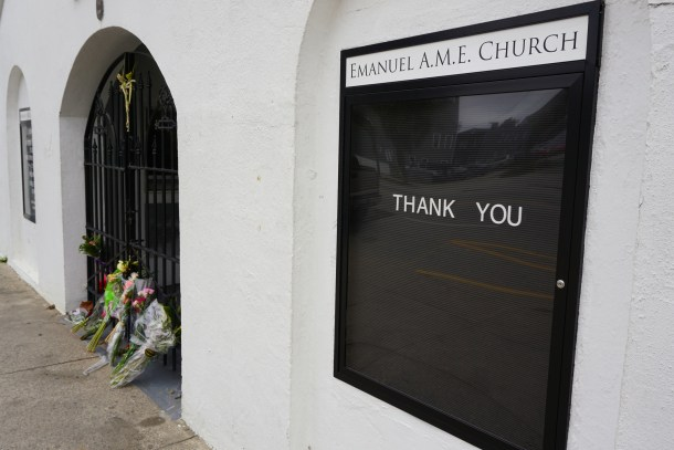 Charleston, South Carolina, USA - January 6, 2016: Memorial flowers placed at Emanuel AME Church.