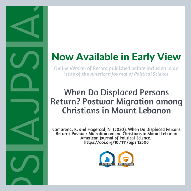 When Do Displaced Persons Return? Postwar Migration among Christians in Mount Lebanon