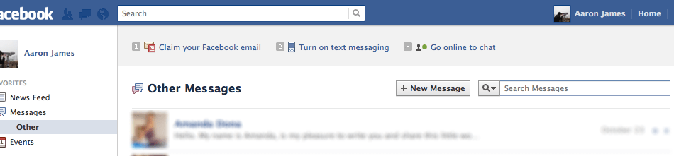 Updating 'Fans' through Facebook Messages