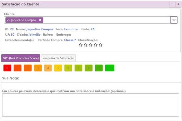 Satisfação do Cliente - NPS - Parâmetros Gerais
