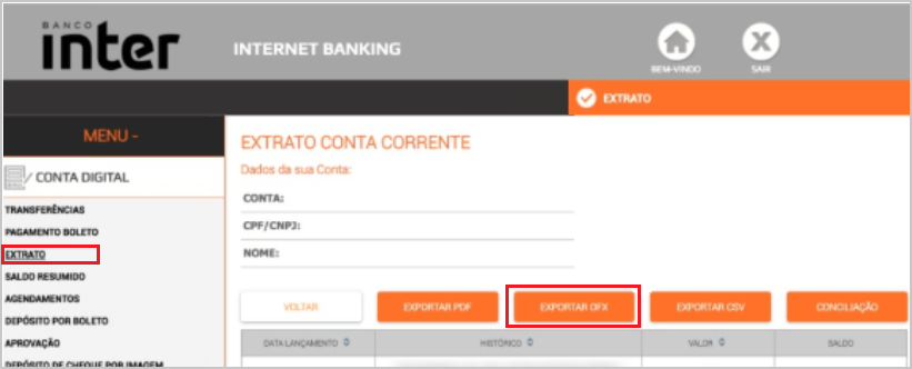 Exportar o Arquivo OFX - Banco Inter