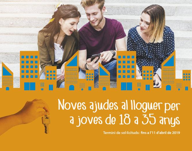Fins a l'11 d'abril es poden sol·licitar les ajudes per al pagament del lloguer a joves d'entre 18 i 35 anys