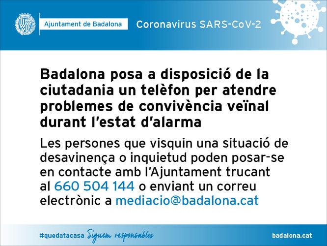 Badalona posa a disposició de la ciutadania un telèfon per atendre problemes de convivència veïnal durant l'estat d'alarma