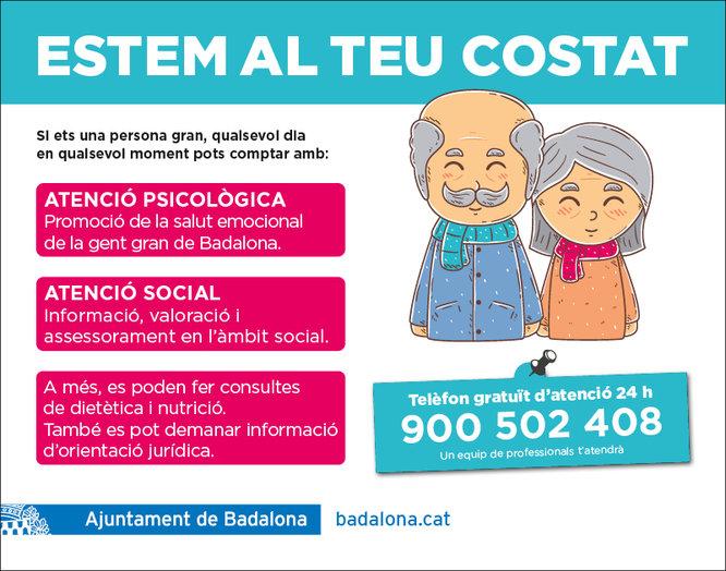 El telèfon gratuït 900 502 408 ofereix suport psicològic i social a la gent gran de Badalona