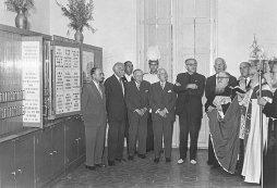 Inauguració del Museu Postal i Filatèlic al Palau de la Virreina, 28 de setembre de 1959 Font: col·lecció Ramon Marull, autor desconegut