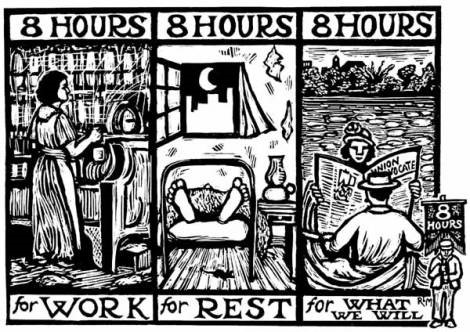 A block print demanding 8 hours for work, 8 hours for rest, and 8 hours for what we will