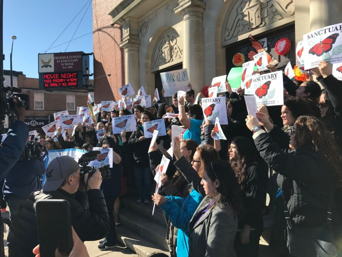 Neighbors and LSNA rally to demand sanctuary for their students