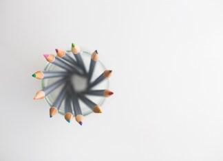kaleidoscope of coloured pencils in pot