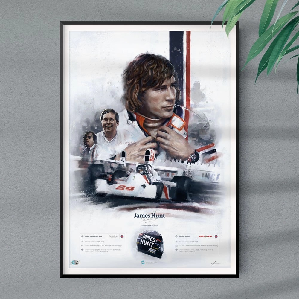 James Hunt Poster On Wall With Plant