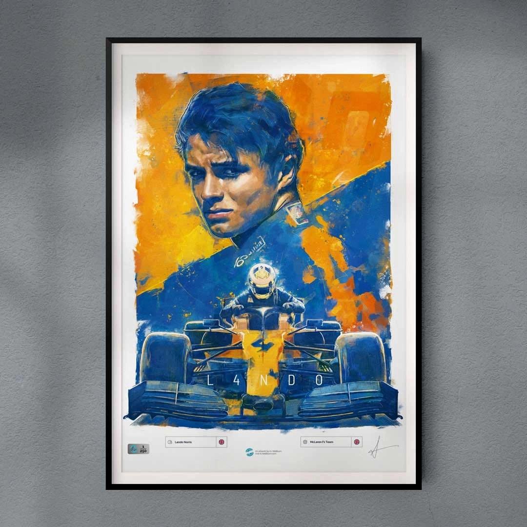 Framed Lando Norris F1 driver McLaren Artwork