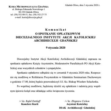 Komunikat kurialny o spotkaniu opłatkowym DIAK AG – 9 stycznia 2020