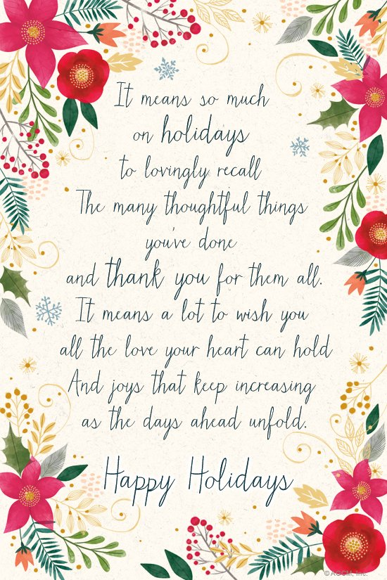 Holiday Thank You Poem Thank You ECard Blue Mountain