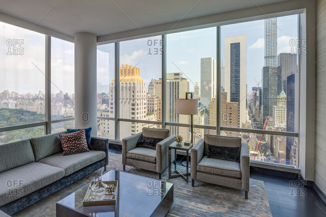 New York Ny July 27 2017 Luxury High Rise Apartment Living Room With View Of Central Park Stock Photo Offset