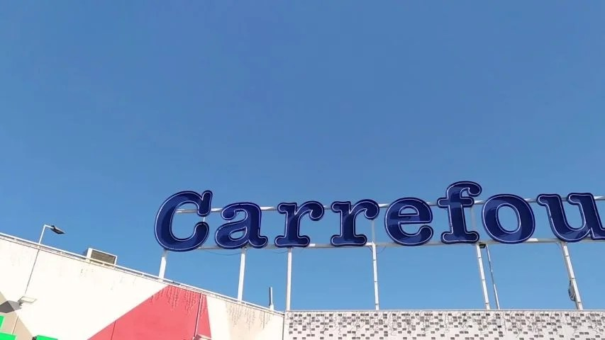 massa italy november 13 2019 the store sign of the french chain of supermarket carrefour