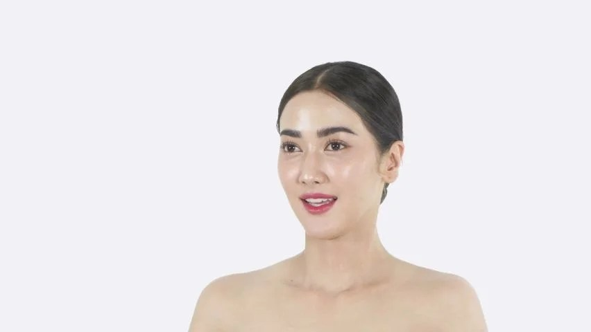 beauty concept of 4k resolution young asian woman rejoicing on the white background