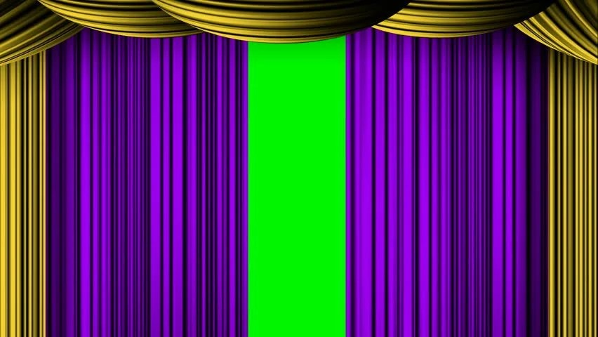 animated zooming purple golden curtain