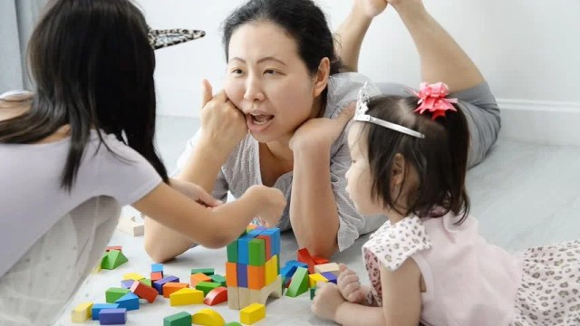 Asian Mother and Children Playing Stock Footage Video (100 ...