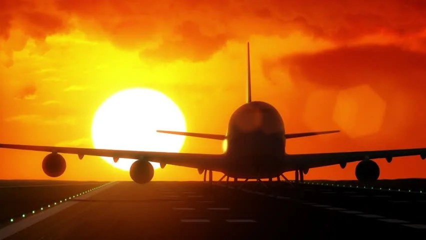 Jet Plane Departs From Airport Stock Footage Video 100