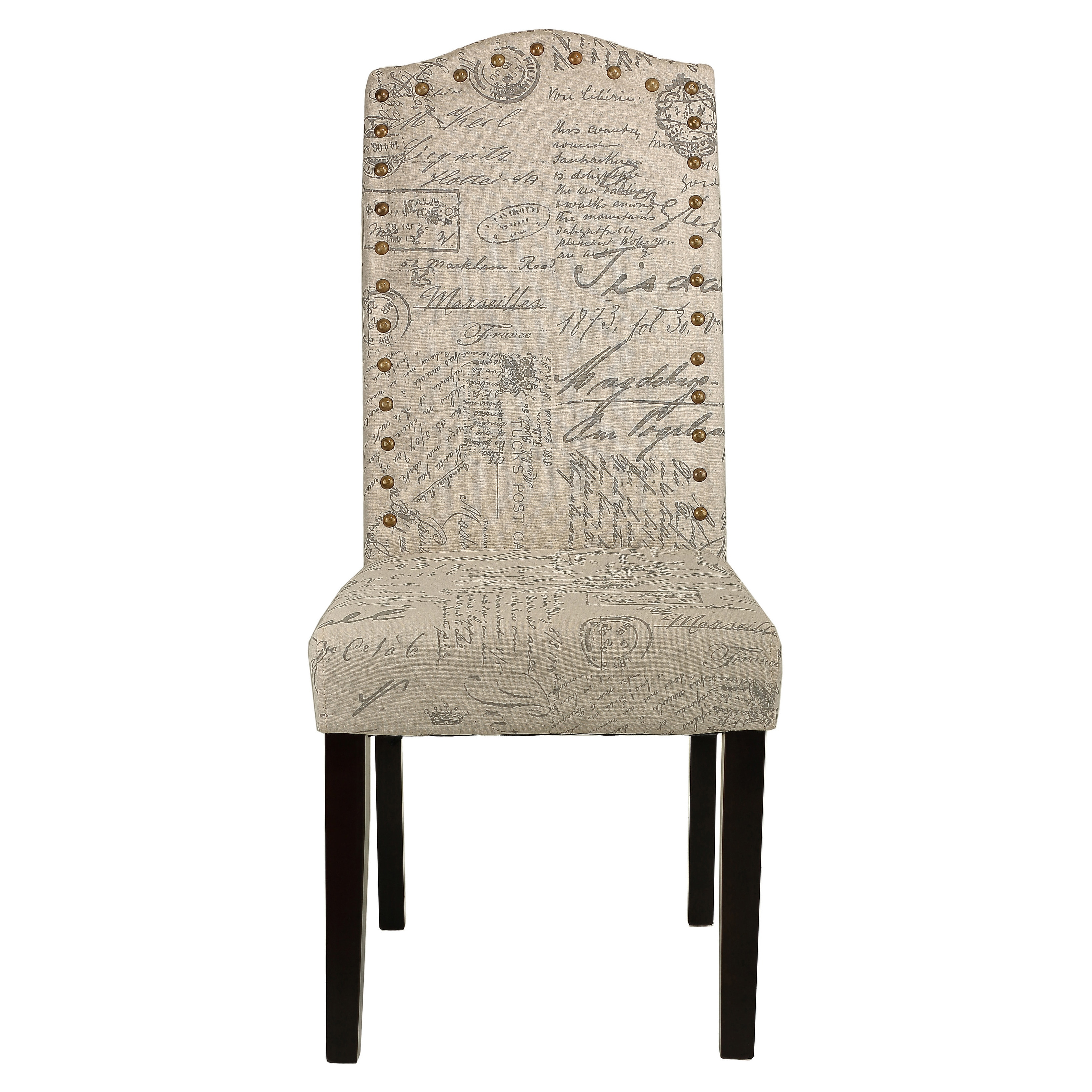 shop cortesi home miller beige script fabric dining chair set of 2 free shipping today overstock com 10130695
