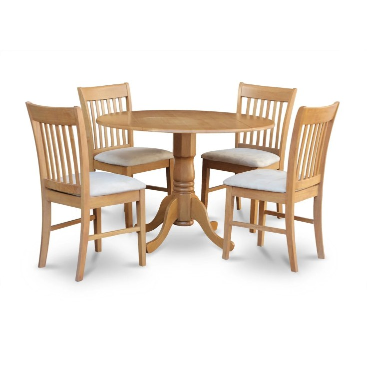 shop oak round kitchen table and 4 chairs 5-piece dining set - free