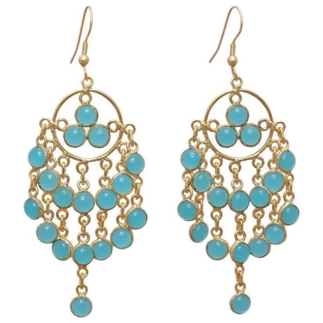 Handmade Gold Overlay Aqua Chalcedony Chandelier Earrings India Free Shipping On Orders Over 45 17721368