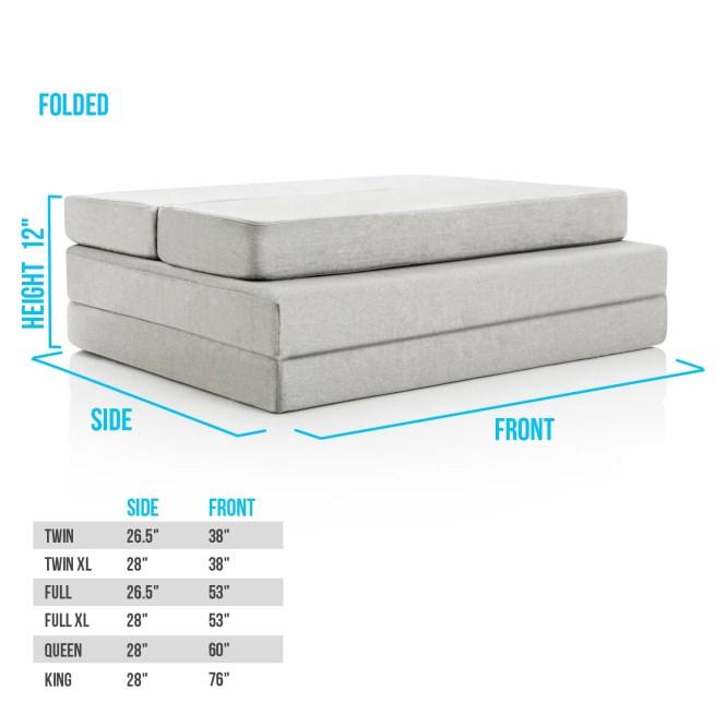 Lucid 4 Inch Gel Memory Foam Folding Mattress Free Shipping Today 17915334