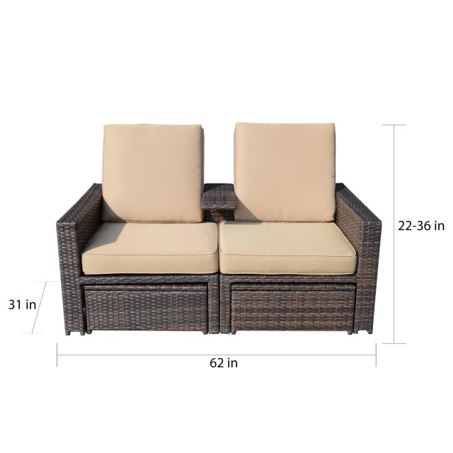 shop outsunny outdoor 3-piece pe rattan wicker lounge chair set