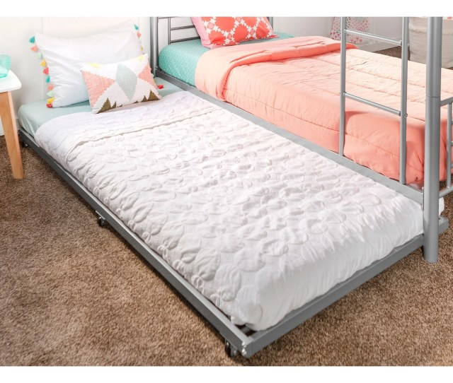 Metal Roll Out Twin Trundle Bed Frame Silver
