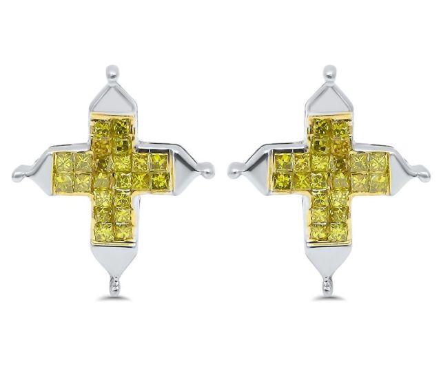 Shop Noori 14k Gold 3 4ct Tdw Canary Princess Cut Diamond Cross Earrings White Free Shipping Today Overstock Com 13179217