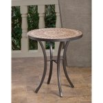 Boracay Beige Ceramic And Wrought Iron 20 Inch Round Mosaic Outdoor Side Table With Tile Top And Base Overstock 14398475