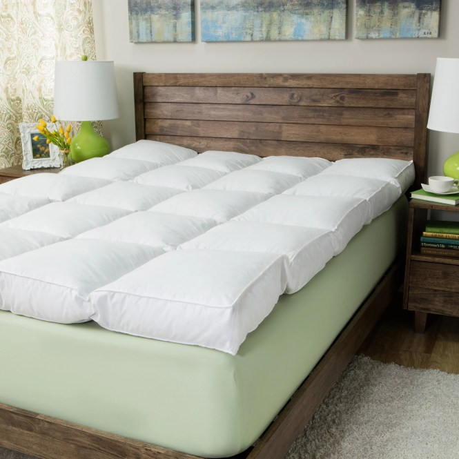 Super Snooze 5 Inch 230 Thread Count Baffled Featherbed Set Free Shipping Today 1125204