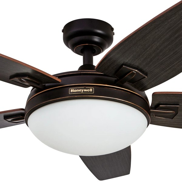 Shop 48  Honeywell Carmel Oil Rubbed Bronze Ceiling Fan with     Shop 48  Honeywell Carmel Oil Rubbed Bronze Ceiling Fan with Integrated  Light and Remote   Free Shipping Today   Overstock com   16000063
