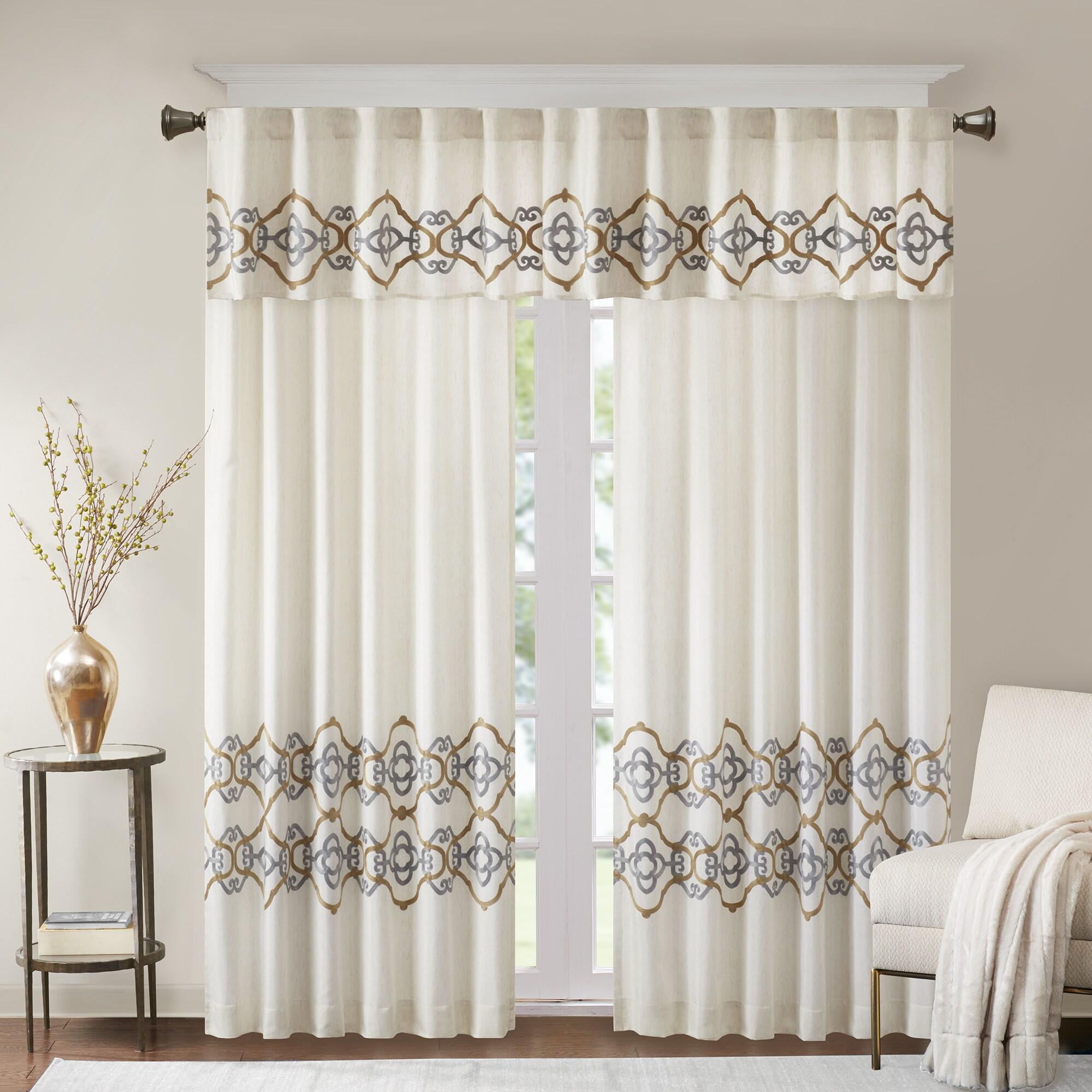 bombay minae border embroidered single window curtain panel