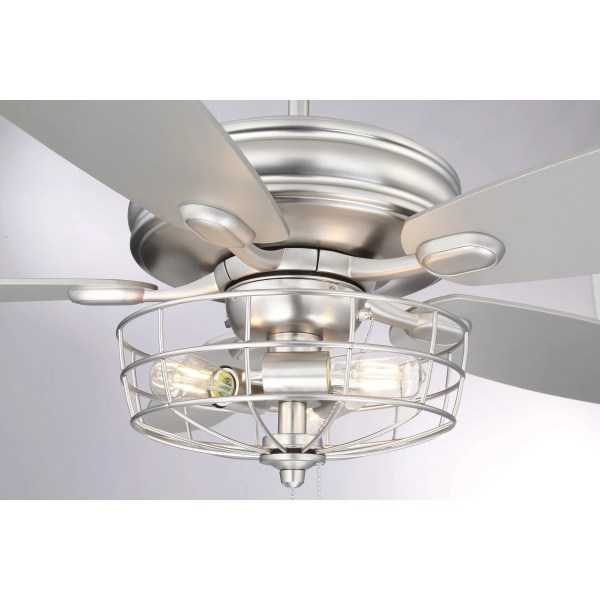 Shop 52 in  3 Light Brushed Nickel Ceiling Fan with Metal Wire Cage     3 Light Brushed Nickel Ceiling Fan with Metal Wire Cage   Silver   Free  Shipping Today   Overstock com   18127615