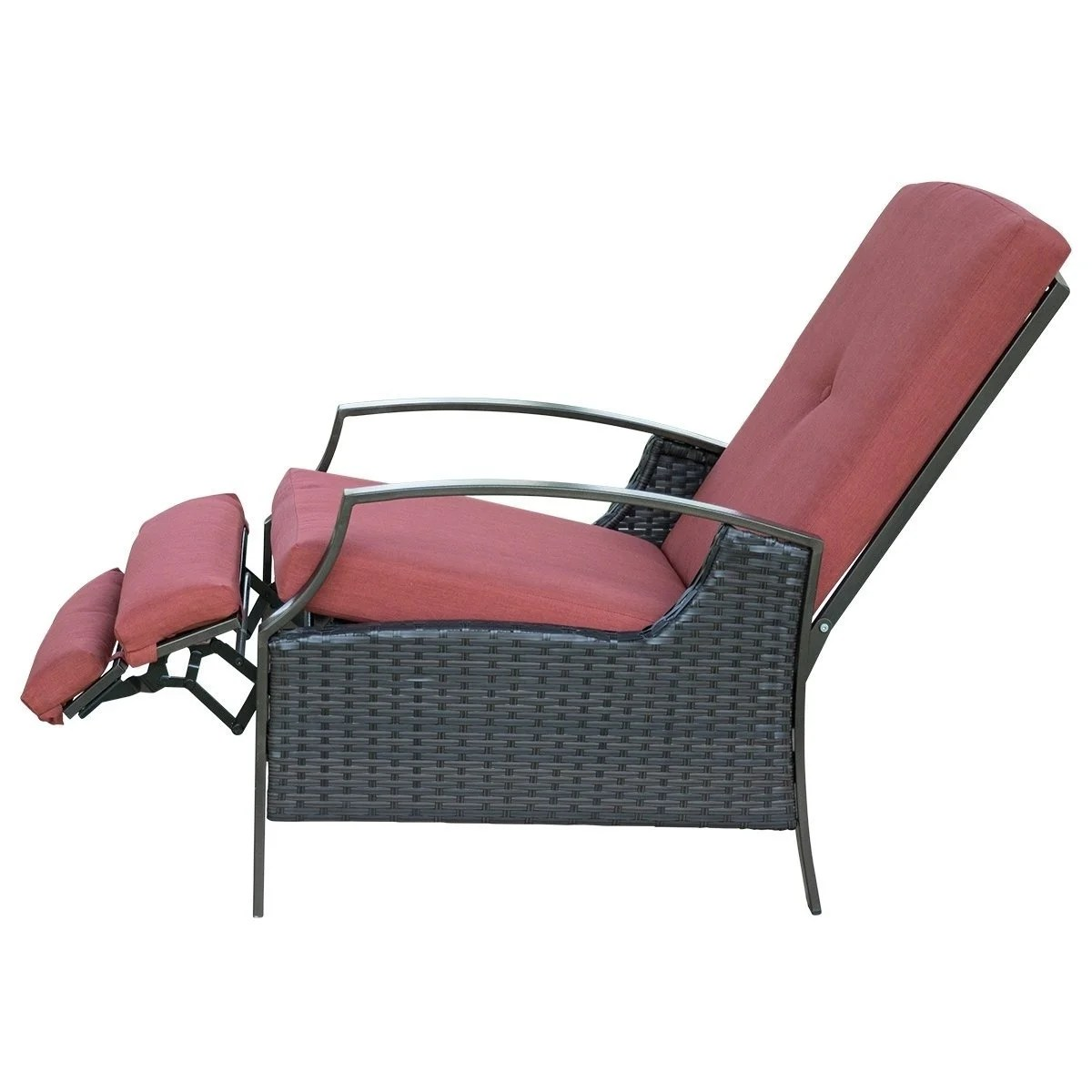 Shop SunLife Recliner Chair  Adjustable Patio Bistro Garden Party     Shop SunLife Recliner Chair  Adjustable Patio Bistro Garden Party Bars Cafe Indoor  Outdoor Wicker Relaxing Lounge with Thick Cushion   Free Shipping Today