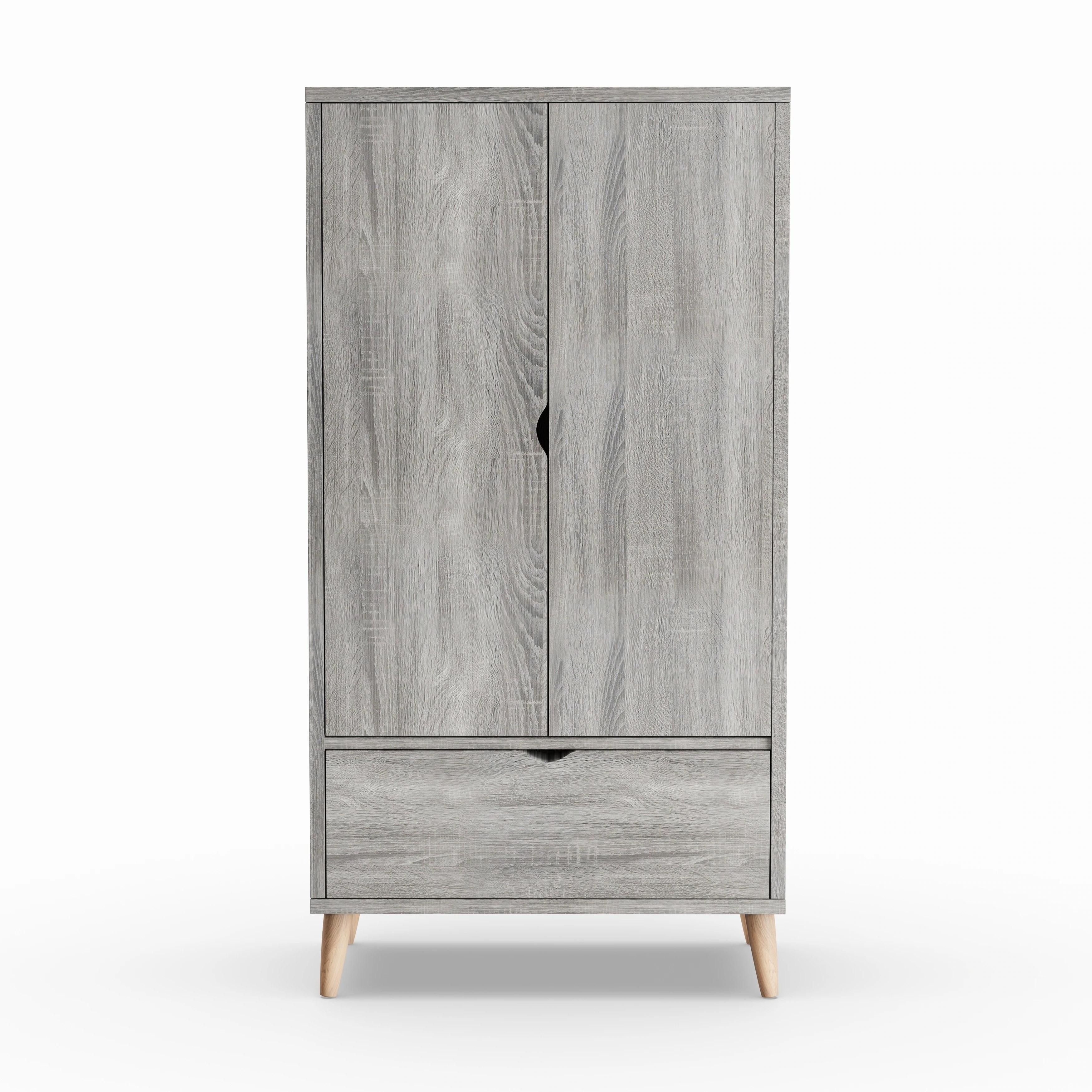 carson carrington gjovik contemporary distressed grey wardrobe armoire