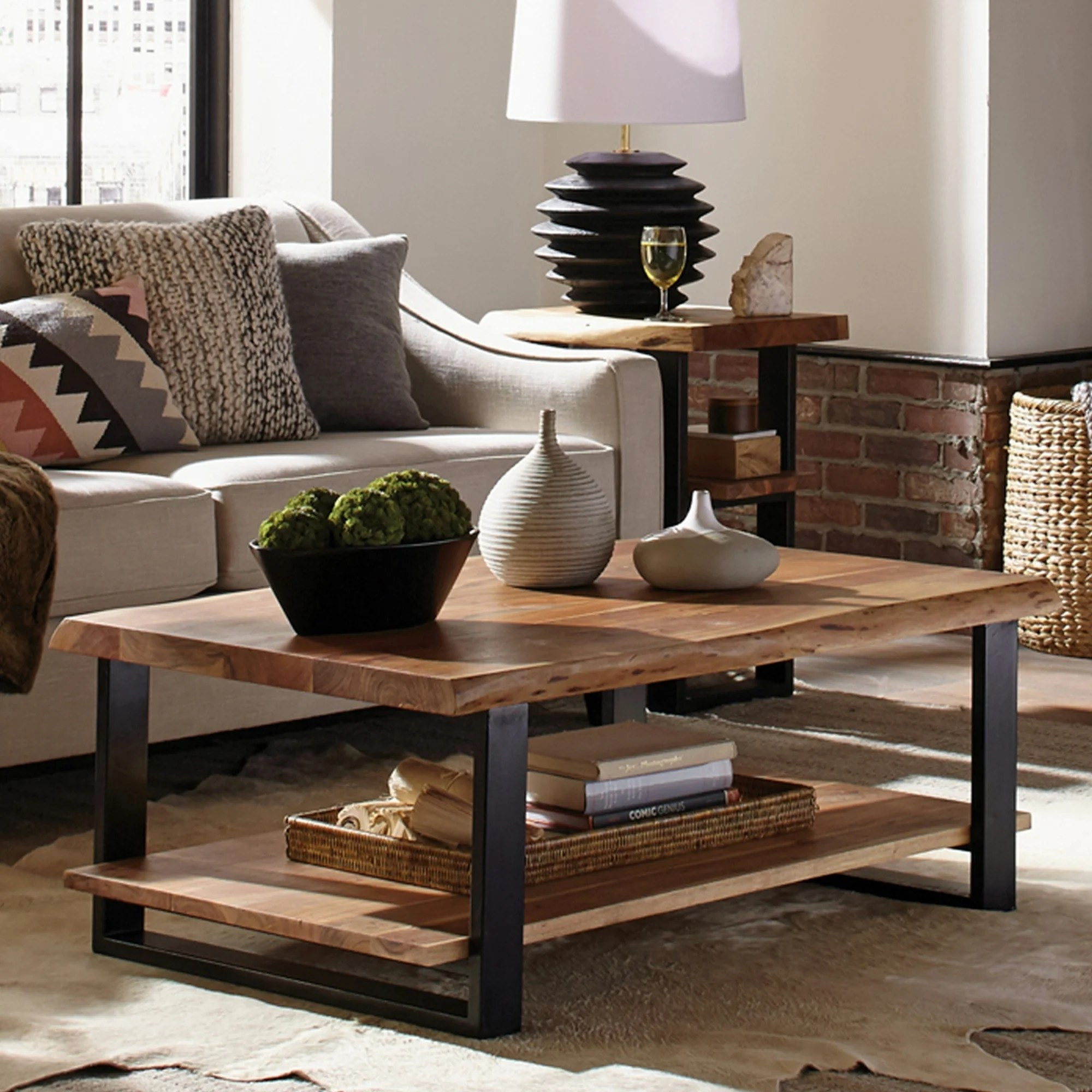 alpine 48 natural live edge wood coffee table natural