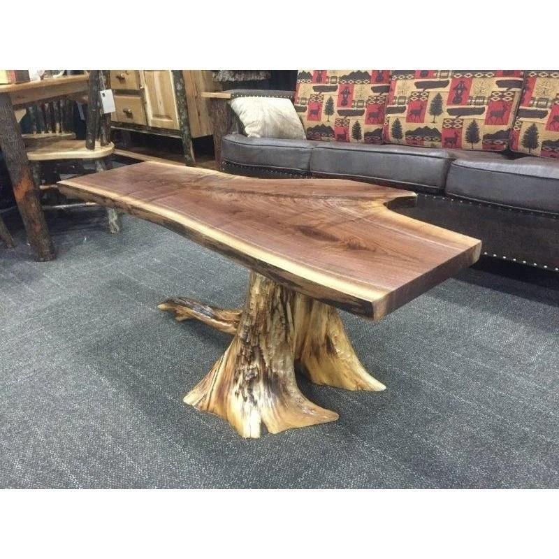 white cedar stump coffee table with walnut top