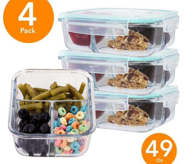 Shop 4 Pack Large 49 Oz Glass Meal Prep Containers 3 Divider Compartment Snap Locking Lid On Sale Free Shipping On Orders Over 45 Overstock