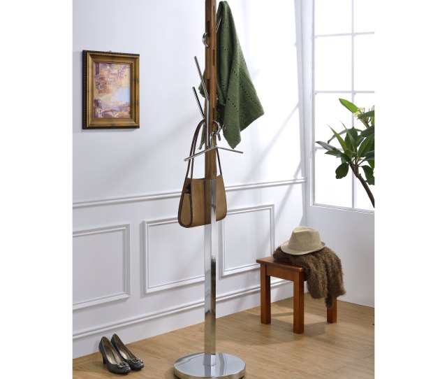 Shop Wood Metal Freestanding Coat Rack With Hooks Walnut Brown Silver Free Shipping Today Overstock 25344346