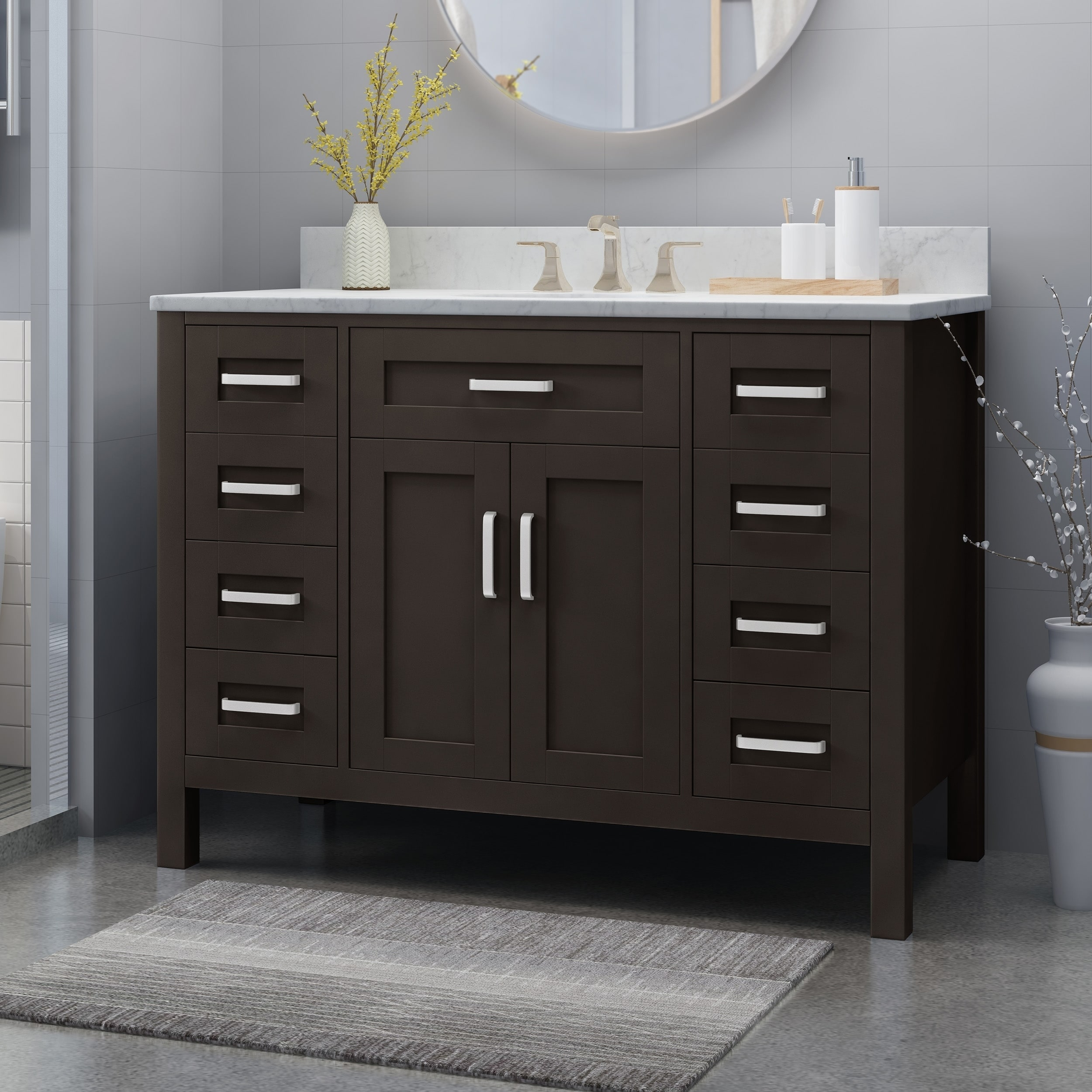 greeley contemporary 48 wood single sink bathroom vanity with carrera marble top by christopher knight home