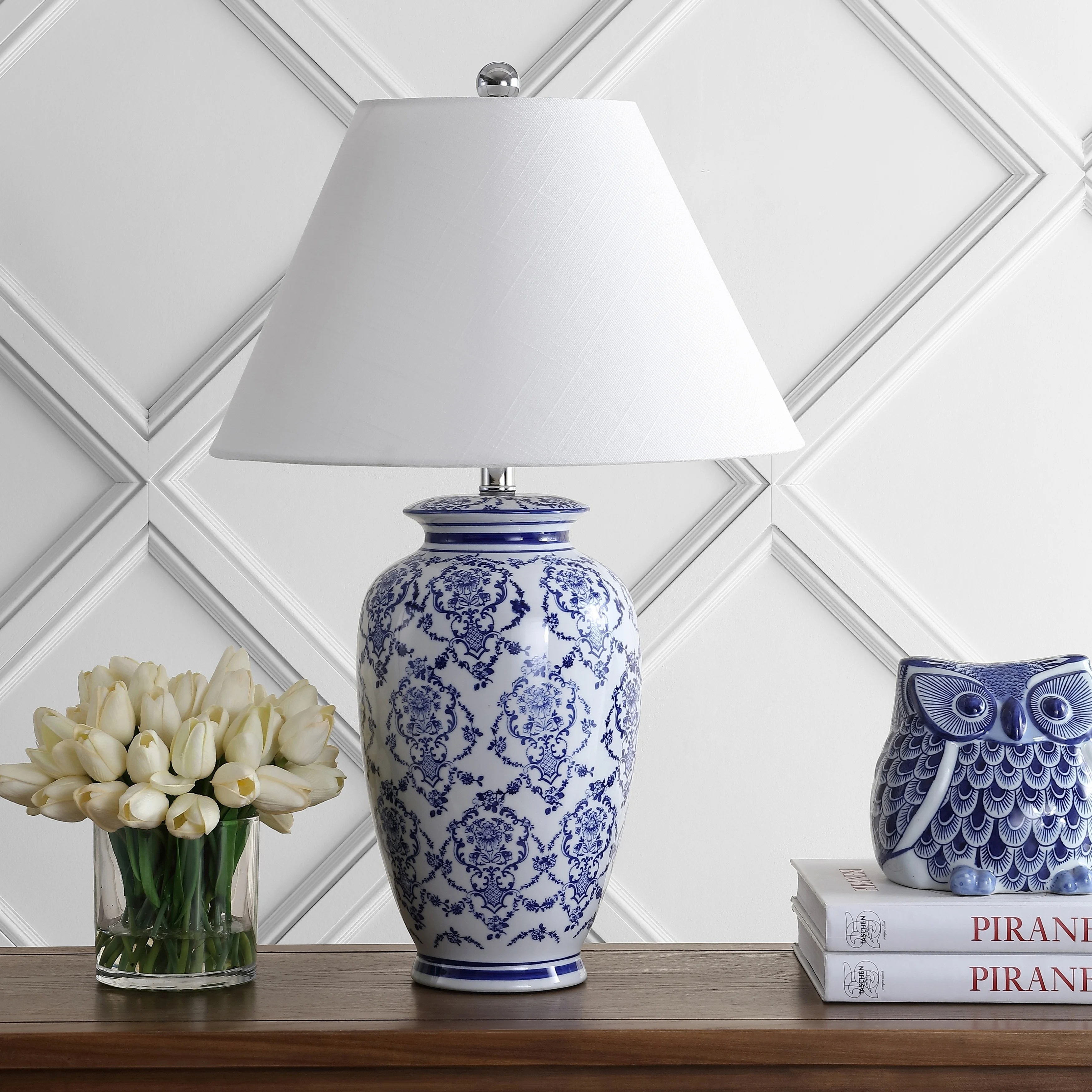 Juliana 26 25 Chinoiserie Ceramic Led Table Lamp Blue White By Jonathan Y Overstock 25741194
