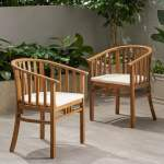 Alondra Outdoor Wooden Dining Chairs With Cushions Set Of 2 By Christopher Knight Home Overstock 27569235
